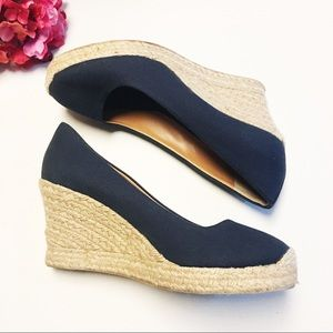 J. Crew Seville Navy Canvas Wedge Espadrilles